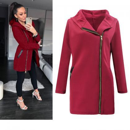 Women Long Coat Autumn Winter Patc..