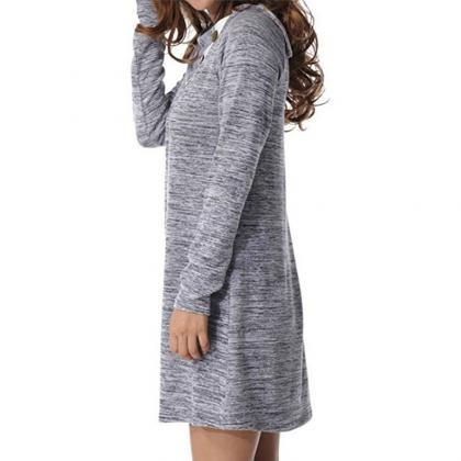 Women Mini Dress Autumn Winter Asym..