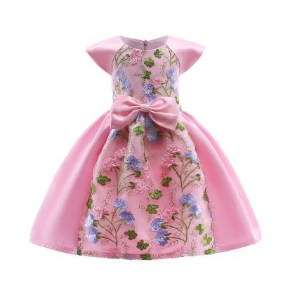 Embroidery Lace Flower Girl Dress C..