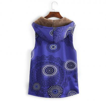 Women Floral Printed Waistcoat Wint..