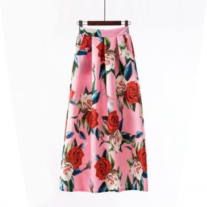 Women Floral Printed Maxi Skirt Vin..