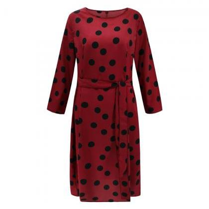 Women Polka Dot Dress Autumn Winte..