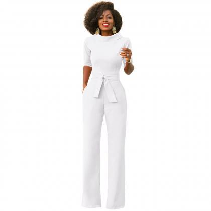 Women Jumpsuit Half Sleeve Stand C..