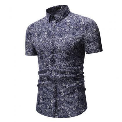 3e754448236 Men Floral Printed Shirt Summer Beach Short Sleeve Hawaiian Holiday ...