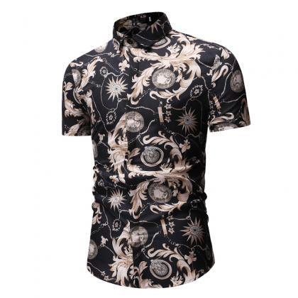 Men Floral Printed Shirt Summer Be..