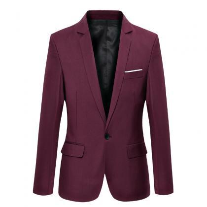 Men Blazer Coat Long Sleeve One But..