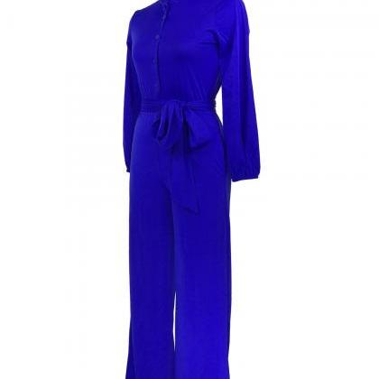 Women Wide Leg Jumpsuit Buttons Lon..