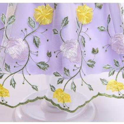 Embroidery Floral Flower Girl Dress..