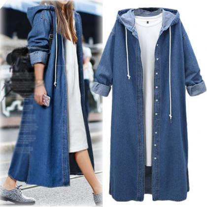 Women Denim Trench Coat Hooded Cas..
