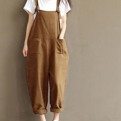 Women Suspender Pants Plus Size Cas..