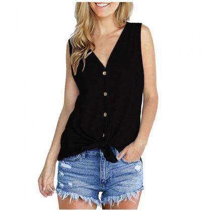 Women Knitted Vest V Neck Buttons S..