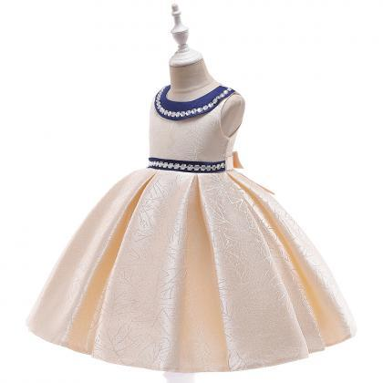 Beaded Flower Girl Dress Satin Wed..