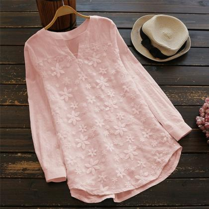 Women Embroidery Floral Lace Blouse..