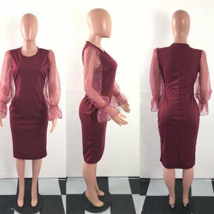 Women Pencil Dress Long Flare Sleev..