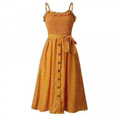 Women Polka Dot Dress Spaghetti Str..
