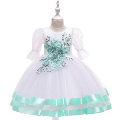 Green Wedding Dress Princess Kids Toys For  with Decorative PatternHI