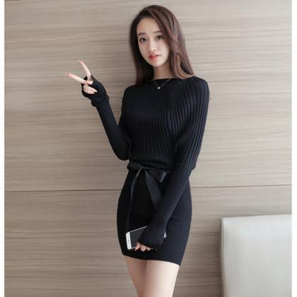 Womens Long Sleeves Belt Knitted Sw..