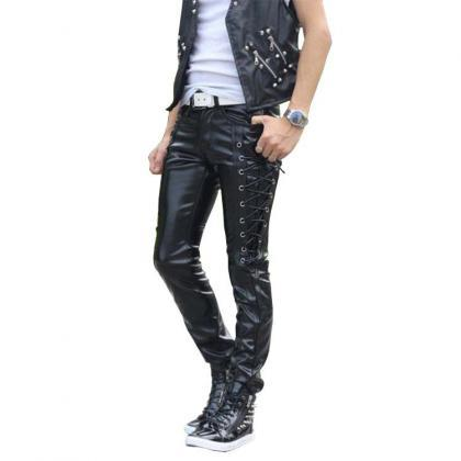 men fashion PU Pants Autumn winter ..