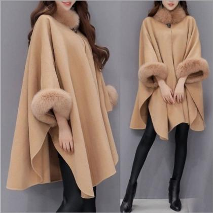 Women cape Coat 2019 Autumn Winter..