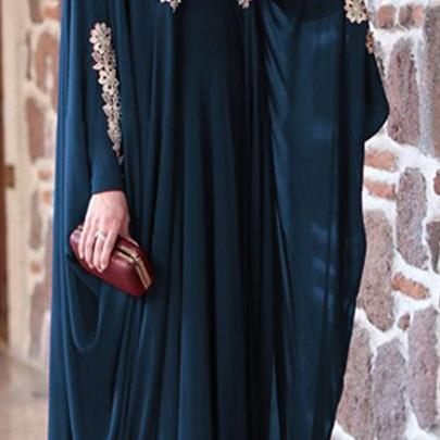 Women Muslim Dress Solid Lace Plus..