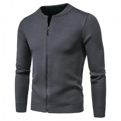 Men knit sweater round neck zipper..