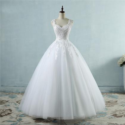 Women wedding dress plus size V nec..