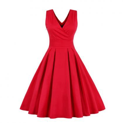 Women Pleated Vintage Dress Sexy V..