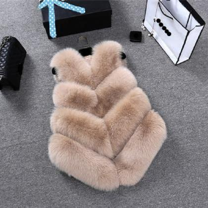 Women New Fashion Faux Fur Coat Wi..
