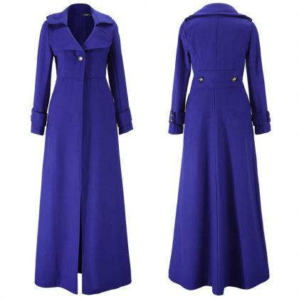 Floor Length Royal Blue Coat Women ..