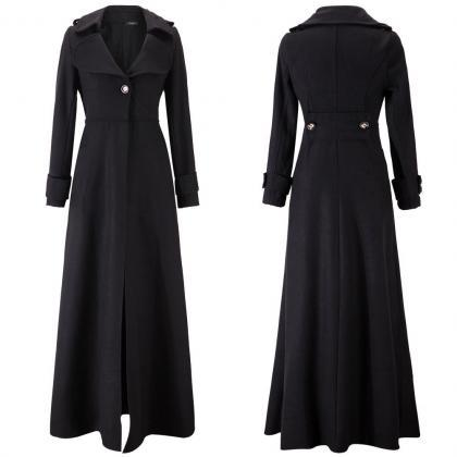 Floor Length Black Coat Women Jacke..