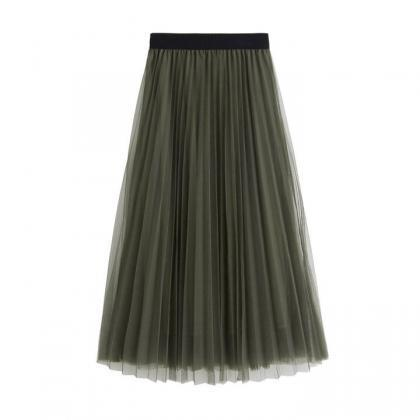 Women Tulle Skirts Elastic High Wai..