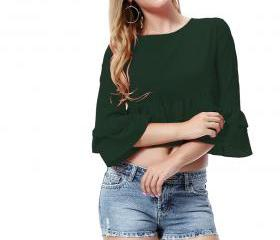 Women Crop Top 3/4 S..