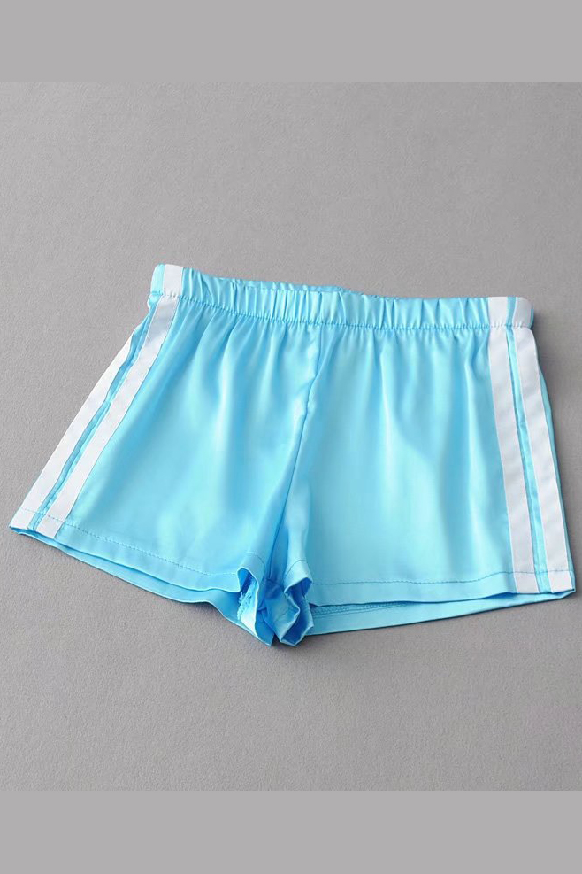 2017 Summer Casual Shorts Women Mini Striped Elastic High Waist Sports Loose Shorts Leisure Shorts light blue
