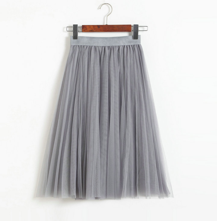 Grey High Rise Multilayered Tulle A-Line Midi Skirt