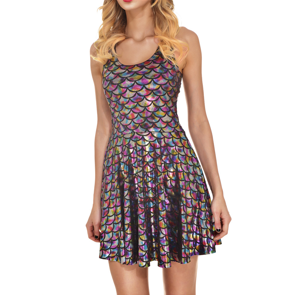 Sexy Multi Candy Color Mini Dress Summer Metallic Sleeveless Fish Scales Short Dress Costume Party Clubwear Vestidos colorful