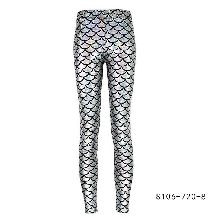 Fashion Silk Milk Fish Scale Print Mermaid Leggings Women Stretch Ankle Length Trousers Seamless Shiny Casual Leggings silver