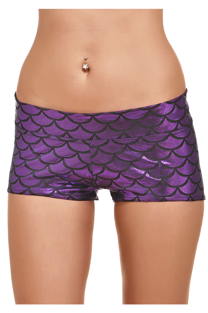 Hot Sale Summer Women Shorts Low Waist Skinny Shorts Casual Print Fish Scales Shorts 12 Colors Plus Size fuchsia