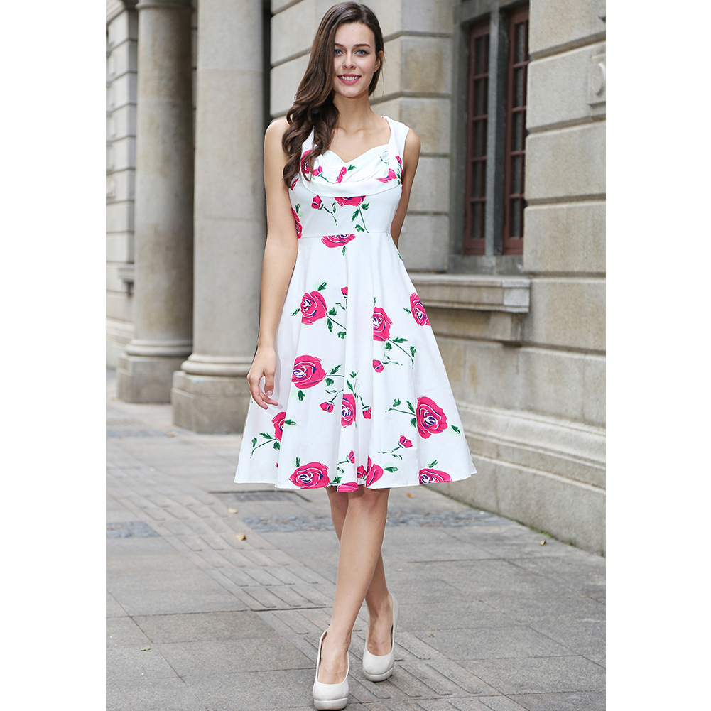 Summer Dress 2017 Vintage Rockabilly Dress Retro Jurken 60s 50s Big Swing Floral Pinup Women Audrey Hepburn Dress Vestidos C821-red