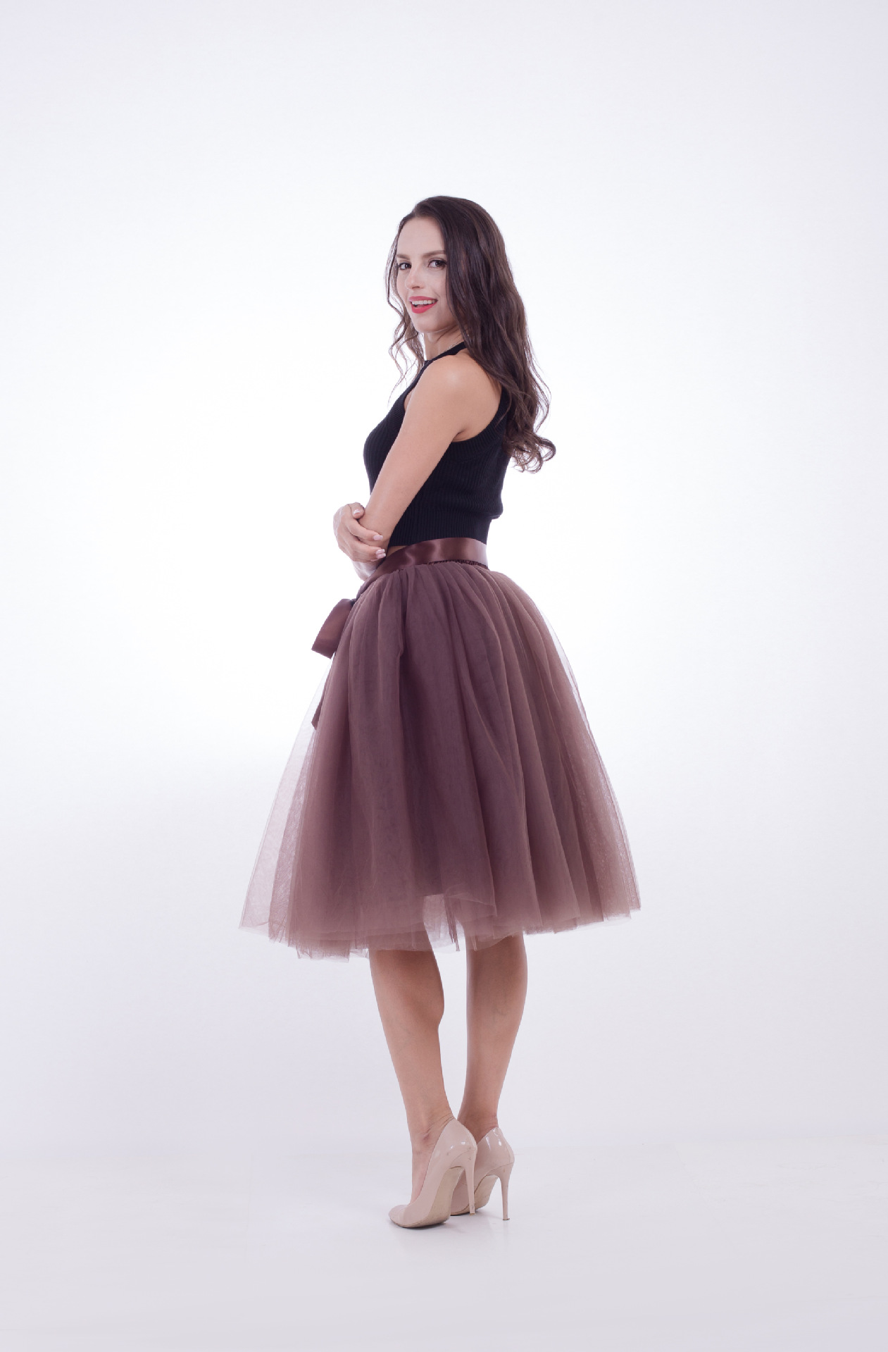 6 Layers Midi Tulle Skirts Womens Tutu Skirt Elegant Wedding Bridal Bridesmaid Skirt Lolita Underskirt Petticoat coffee