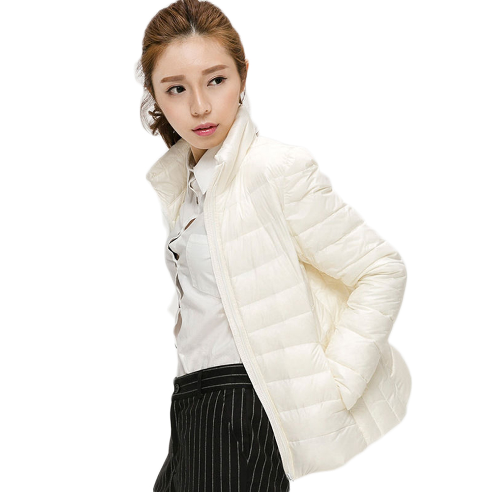 9121c4d88ef1 Women s Packable Winter Ultra Light Weight Short Duck Down Jacket Coat ivory
