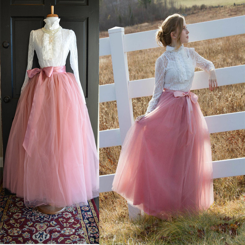 884940050 6 Layers Tulle Skirt Summer Maxi Long Muslim Skirt Womens Elastic Waist  Lolita Tutu Skirts blush
