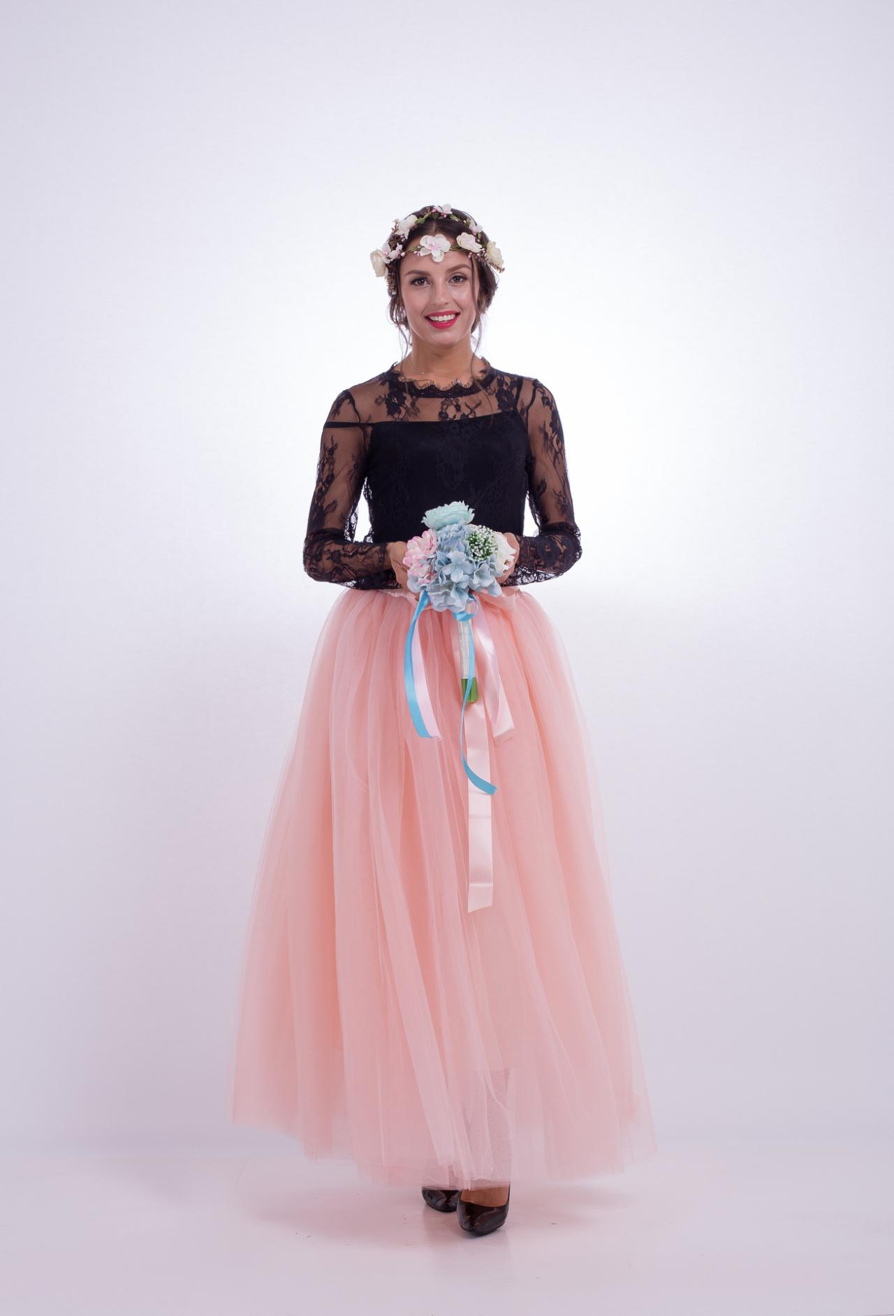 6 Layers Tulle Skirt Summer Maxi Long Muslim Skirt Womens Elastic Waist Lolita Tutu Skirts samlon