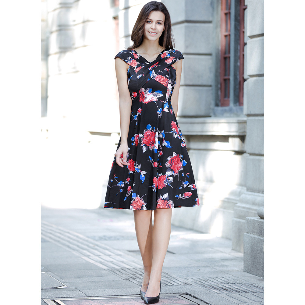 Vintage 50s 60s Floral Printed Women Cusual Dress Cross V-Neck Cap Sleeve Rockabilly Pinup Big Swing A Line Short Party Dress C866-black