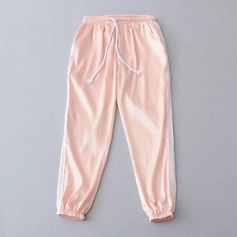 Sweatpants Women Sport Pants Joggers Casual Harlan Yoga Gym Side Striped Drawstring High Waist Lady Femme Trousers salmon
