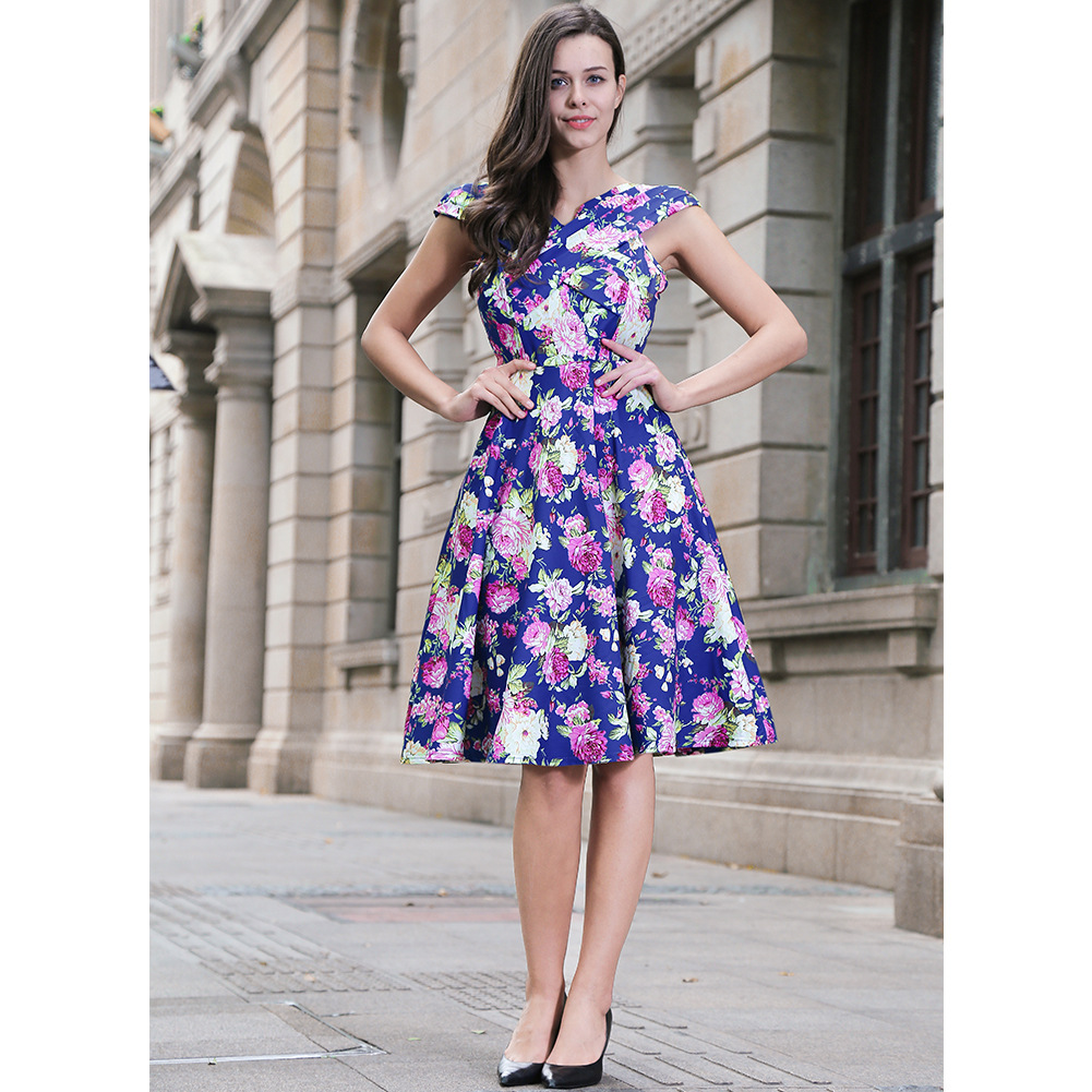 Vintage 50s 60s Floral Printed Women Cusual Dress Cross V-Neck Cap Sleeve Rockabilly Pinup Big Swing A Line Short Party Dress W00836-royal blue