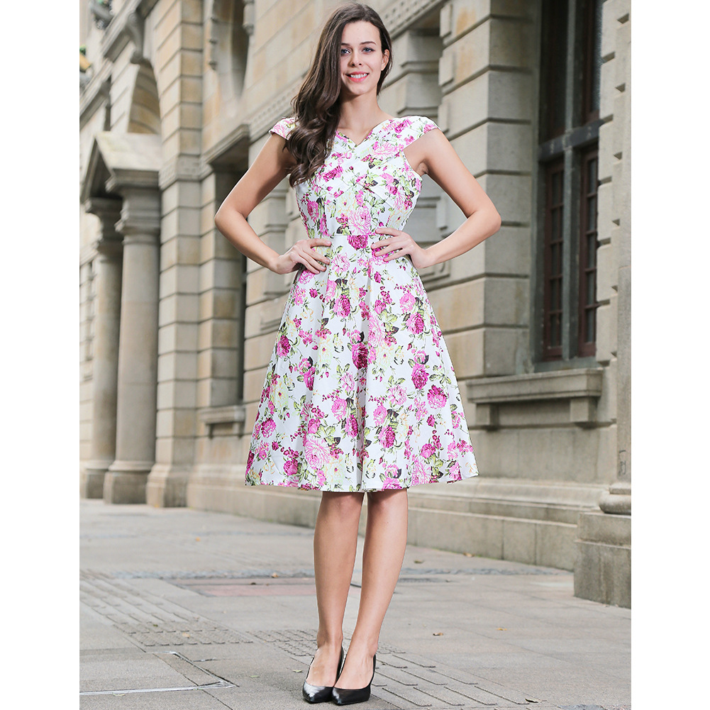 Vintage 50s 60s Floral Printed Women Cusual Dress Cross V-Neck Cap Sleeve Rockabilly Pinup Big Swing A Line Short Party Dress W00836-white