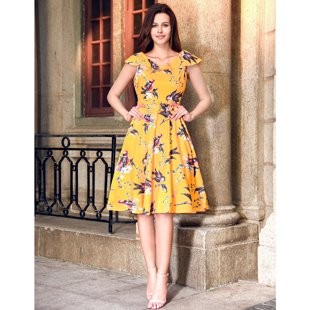 Women Floral Printed Dress Sleeveless Belted Vintage 50s 60s Audrey Hepburn Rockabilly Knee Length Swing A Line Dress C896-yellow