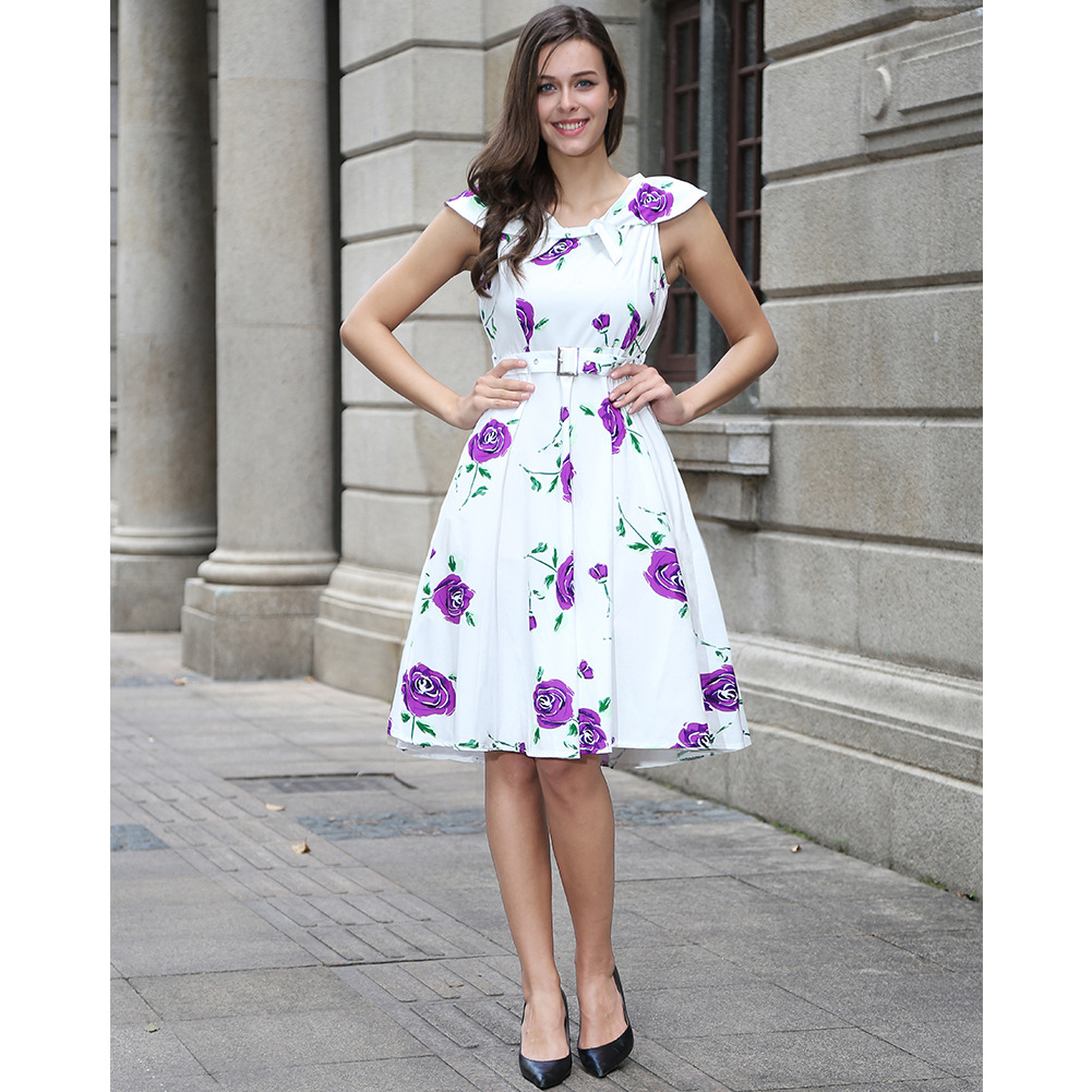 Women Floral Printed Dress Sleeveless Belted Vintage 50s 60s Audrey Hepburn Rockabilly Knee Length Swing A Line Dress C897-purple