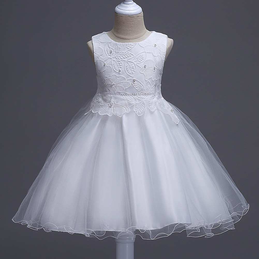 9bf13d35fd2db New Summer Princess Tutu Dress Wedding Party Flowers Girls Birthday Dresses  Floral Lace Baby Kids Clothes Off White