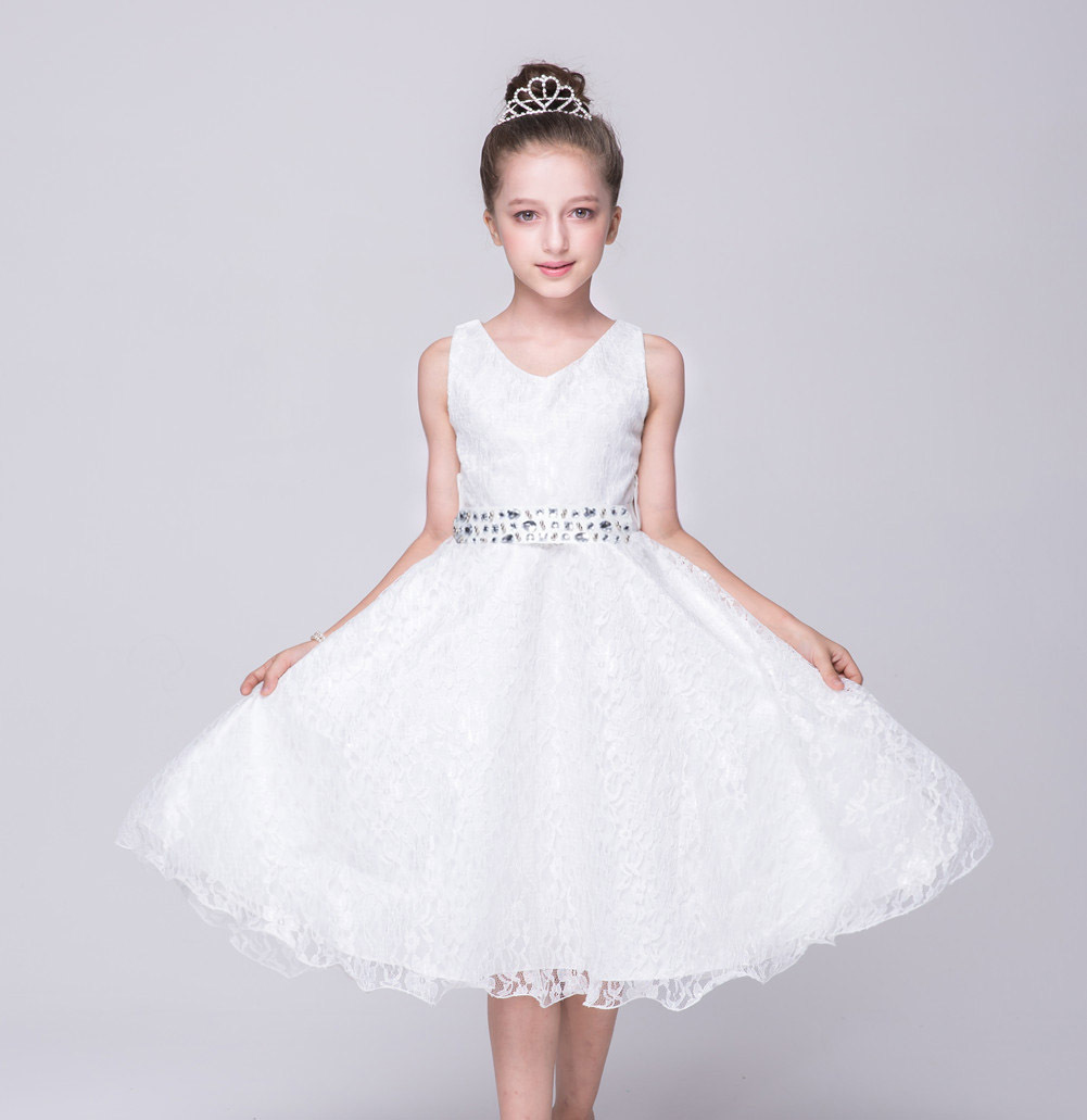 5d4dc33f9e5f3 Lace Flower Girls Dress Children Clothing Beaded Party Princess Baby Kids Prom  Party Dress Teen Costume off white